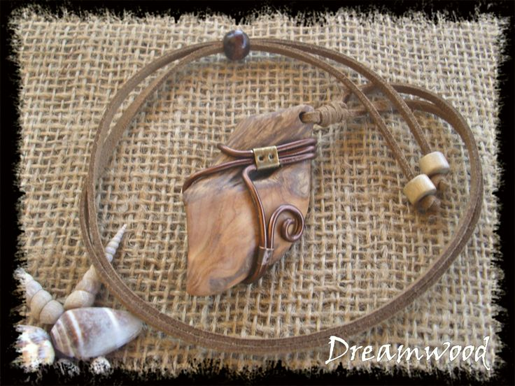 handmade driftwood necklace (leather, metal, and driftwood from Aegean Sea…
