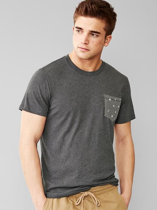 Tri-blend print pocket t-shirt
