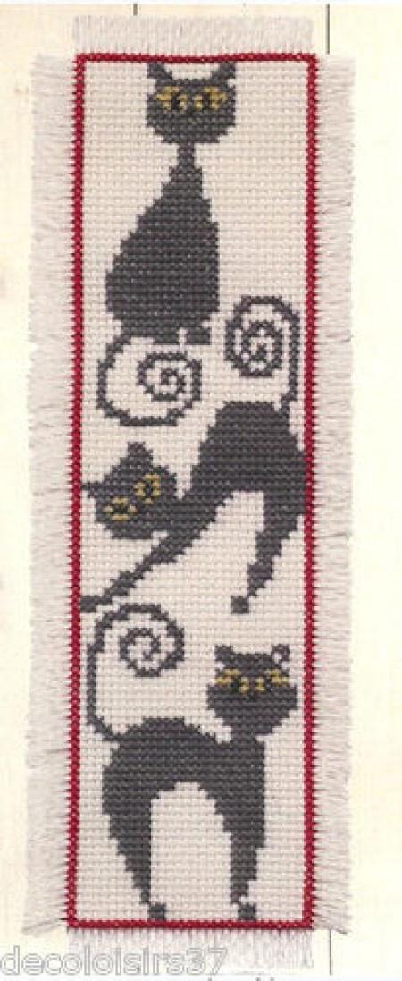 J'ai passé ma commande de Permin Kit Point de Croix Compté Marque-Page Chats noirs-Bookmark Black Cats sur Lish, € 6,90