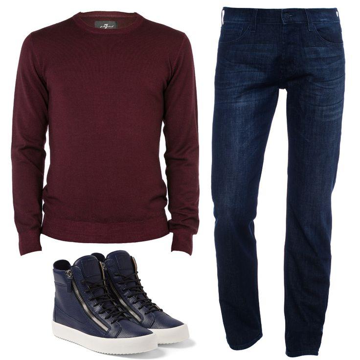 Бордовый свитер и темно-синие джинсы известного американского бренда 7 For All Mankind – это отменное качество, выверенные лекала и изысканный стиль. Что еще надо для создания идеального мужского образа? Тем более со скидками до 70%. У вас такого комплекта нет? Тогда мы ждем вас.  JiST или http://jist.ua/