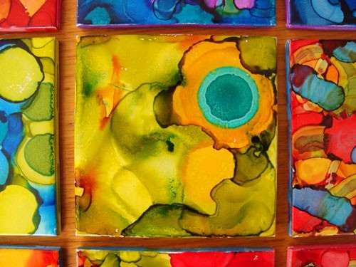 alcohol..: Tile Art, Alcohol Tile 4, Crafts Ideas, Alcohol Ink Tile, Diy Crafts, Tile Diy, Alcohol Inks, Diy Christmas Gifts, Families Crafts