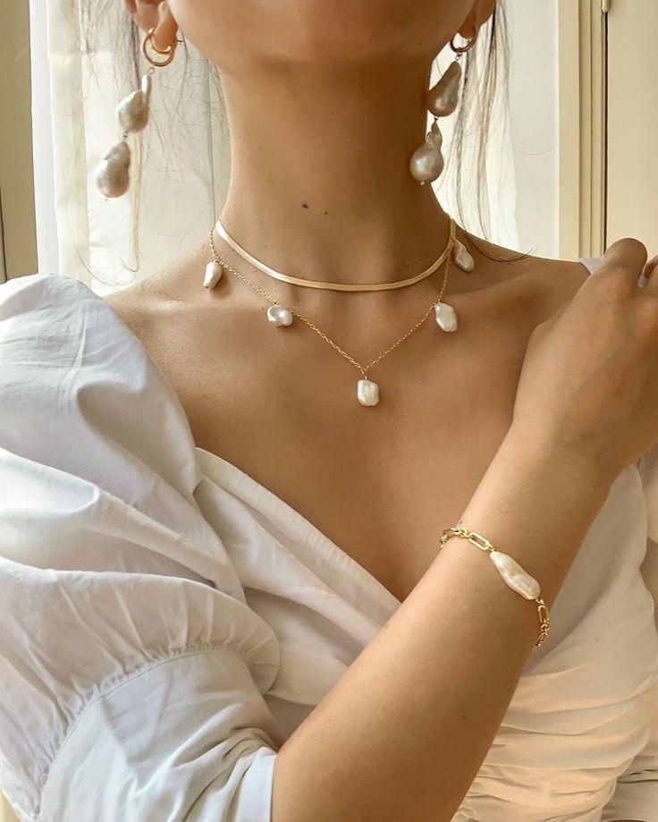 Keshi Pearl Gold gefüllt Halskette, Boho Hochzeitsschmuck, Boho Perlenkette, Süßwasser Perlenkette, Brautschmuck Perle Choker   – STYLE • juwels