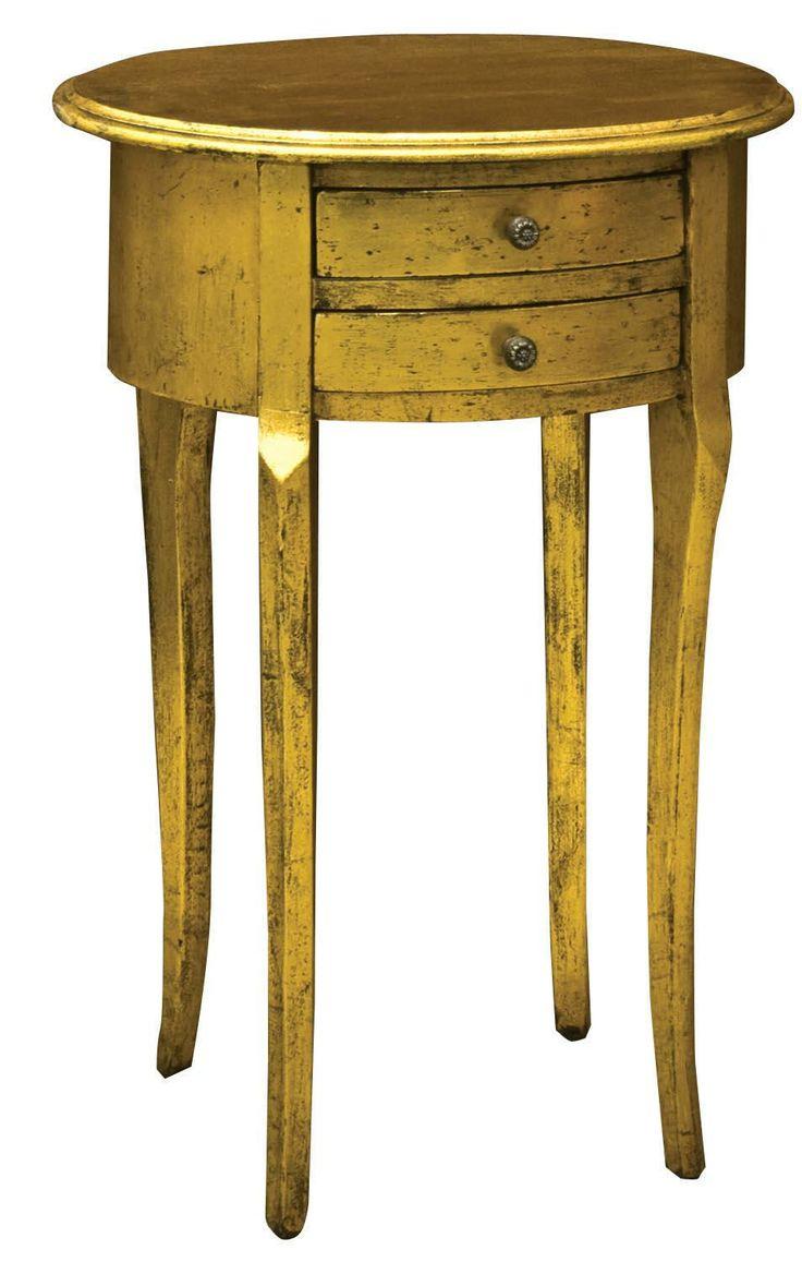 Gold Leaf Oval Side Table. Height: 66cm Width: 49cm Depth: 35cm