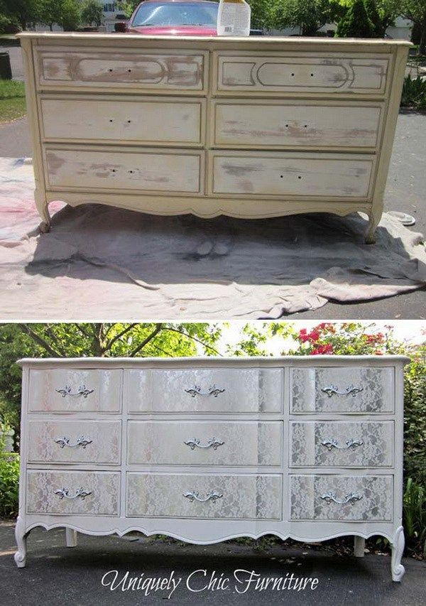 Lacey Dresser Makeover Turn The Old Shabby Chic With Some Lace And Paint