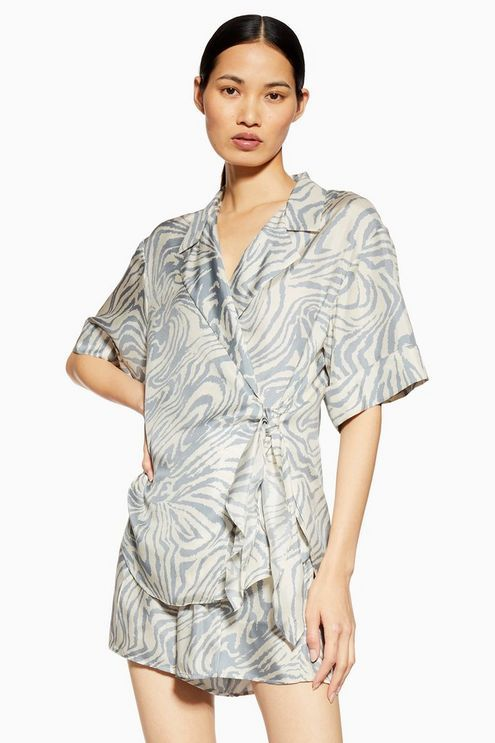 d04f17964fd Womens   Zebra Wrap Silk Shirt By Boutique - Grey in 2019