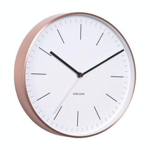 Minimal Wall Clock in Copper & White