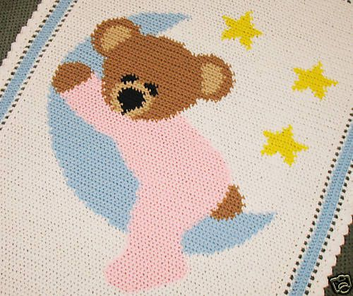 Sleepy Bear on The Moon Baby Afghan Graph Pattern Easy | eBay