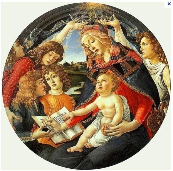 산드로 보티첼리, <찬가의 성모>, 1481~1485, 피렌체, 우피치 미술관.  - 작품해설 : 성모가 그림의 제목이 된 유명한 찬가를 적고 있는 모습을 묘사한 그림이다. 성모의 머리 위로는 성령의 상징인 비둘기가 내려온다.   - 석류의 의미 : 성모와 아기 예수가 함께 쥔 석류는 순결과 부활이라는 이중적 의미를 갖고 있다.   - 나의 감상 : 찬가를 적는 성모의 표정이 너무나 온화하고 편안해 보인다. 그리고 특이하게도 사각캔버스가 아니라 원형에 그려져 있어서 중앙의 성모와 예수에게 집중되는 느낌이 강하고 다른인물들은 인물임에도 불구하고 배경의 이미지로 작용하는것 같다.