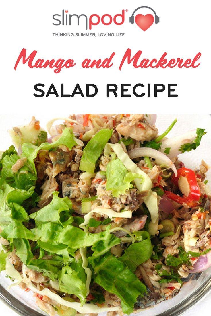 Up your salad game with my Mango and Mackerel Salad. Click for the full recipe. #recipe #healthyeating #food #breakfast #weightloss #loseweight #fatloss #weight #slim #getslim #getinshape #slimpod #health #wellbeing
