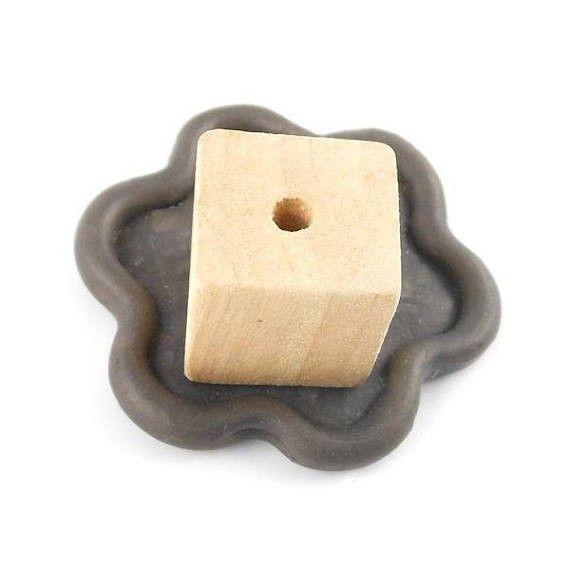 x5 Perles bois brut cube 20mm (54C)