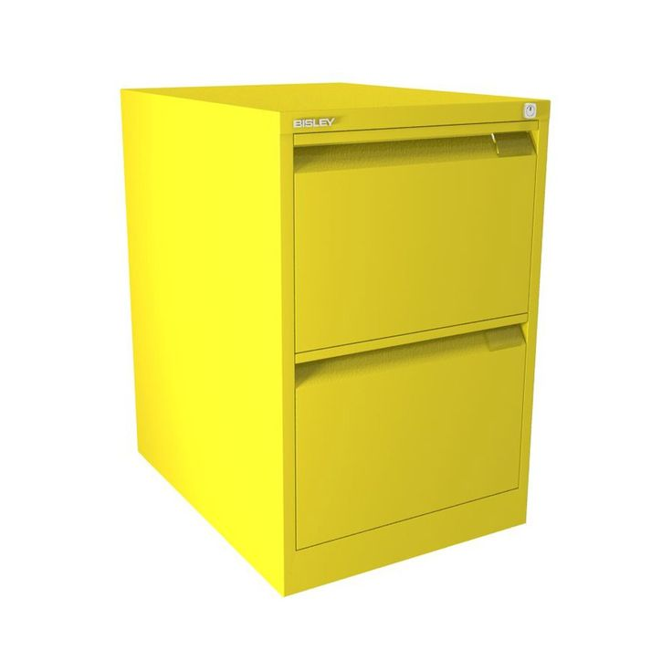 bisley filing cabinet 2 drawer canary yellow bs series flush front