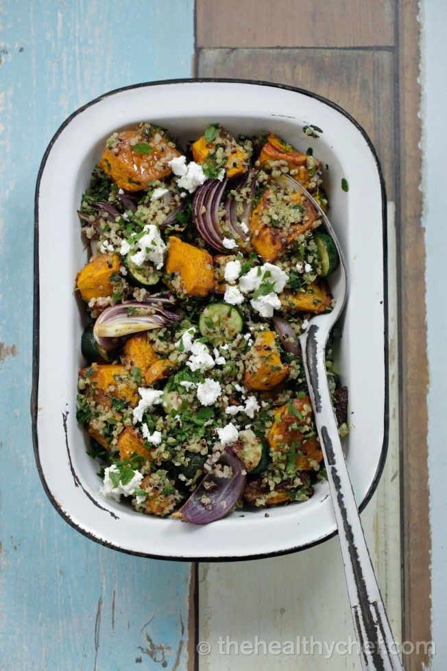 Quinoa With Roasted Pumpkin, Zucchini and Basil Pesto