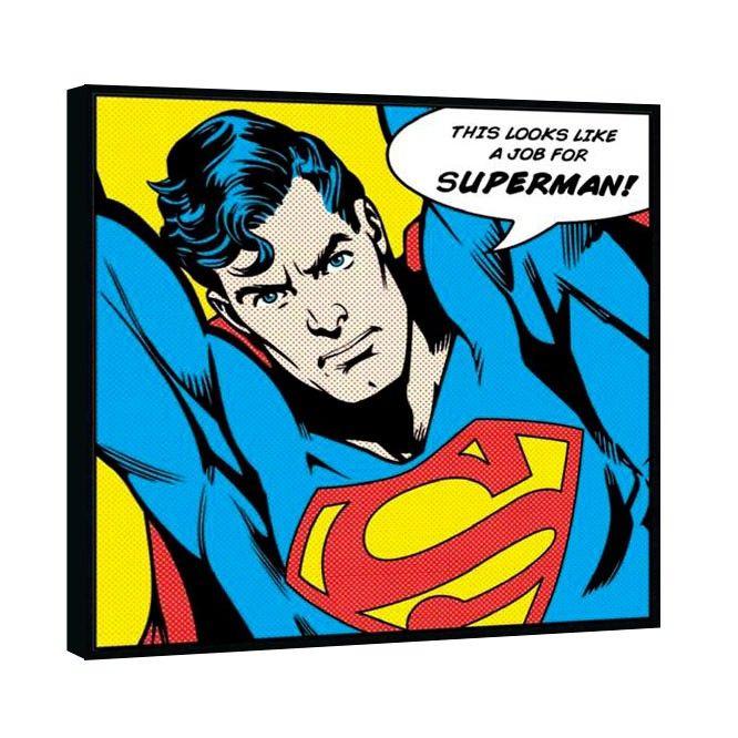 On ne présente plus Superman, ce personnage de fiction qui a le pouvoir de voler et qui est doté d'une super-force !Si votre enfant rêve de l'aider à sauver le monde, alors ce tableau aux allures de bande dessinée est fait pour lui !  Format : 33 x 33 cm