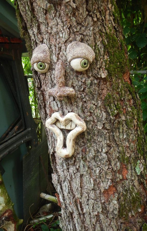 Goofy Tree Face-Ceramic Tree Face-Garden Art by Uturn on Etsy