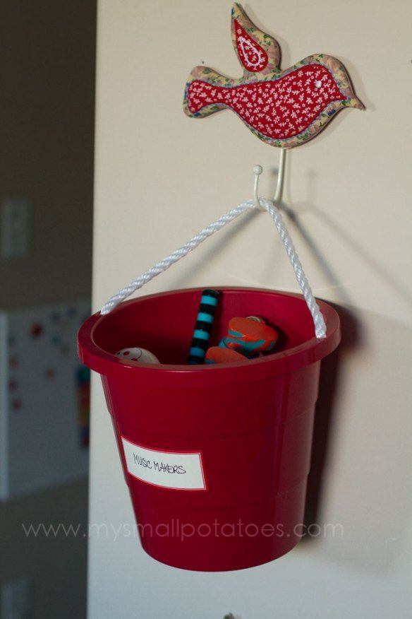 This would be cute for our dirty toys that need sterilized to get the bucket off of the counter.   An Educator's Guide to Creating an Organized Play Space… | Small Potatoes
