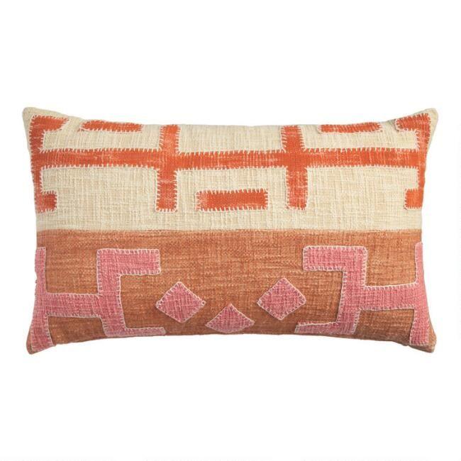 Pink And Orange Kuba Applique Lumbar Pillow With Images Lumbar