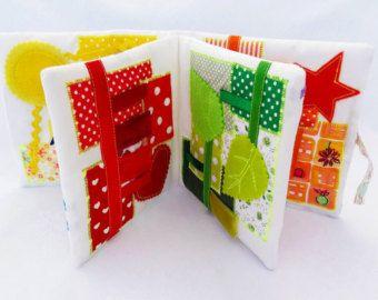 Fabric baby cube Busy block Quiet book Rainbow Geometric