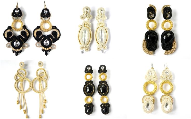 Small colection of soutache earrings, long and elegant, hand made by Manufaktura Charlie