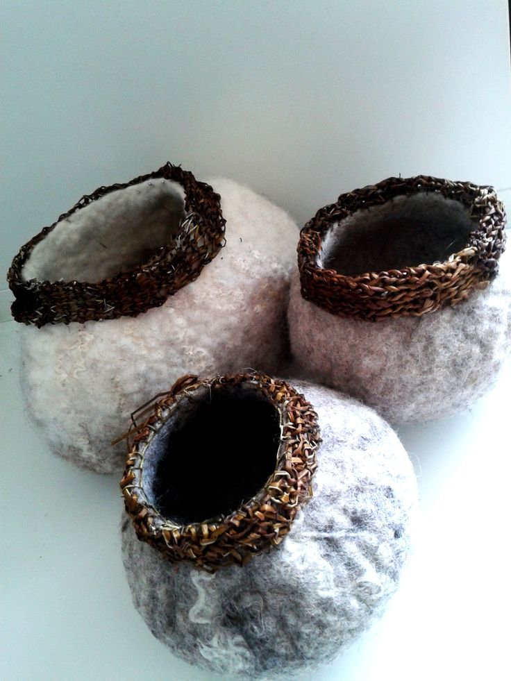 These vessels are made from 100% wool and knitted hedge bindweed from my own garden. Summer 2014