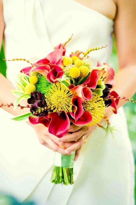 Bridal Bouquet, wedding flowers, calla lilies, pincushion protea, billy balls, www.lapetitegardenia.com