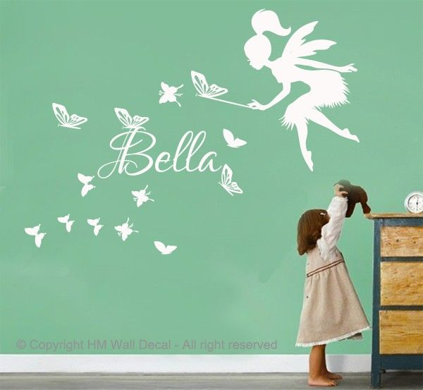 Customise Name Fairy Butterflies Kids Removable Wall Decal for Girls Room | eBay