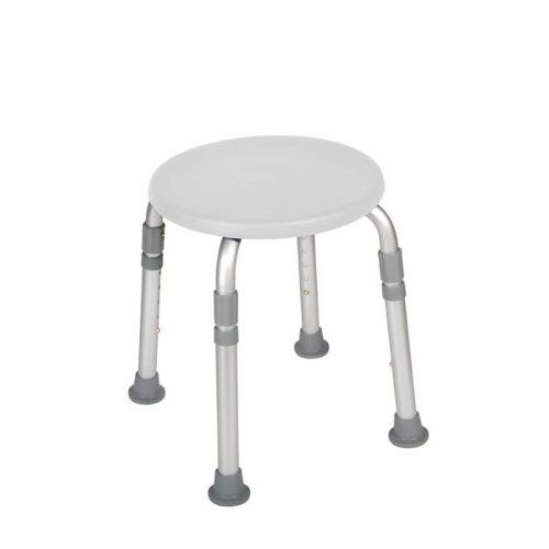 """Adjustable Height Bath Stool, White by Drive. $29.24. Product DescriptionManufactured with 1"""" aluminum tubing, this bath stool by Drive Medical is lightweight yet does not skimp on stability. At 3.5 lbs. this bath stool is portable and great for travel. Additional leg support collars provide increased strength and support. Impact-resistant, composite seat is both crack-proof and tarnish resistant. The bath stool's attractive white finish is sure to match any bathro..."""