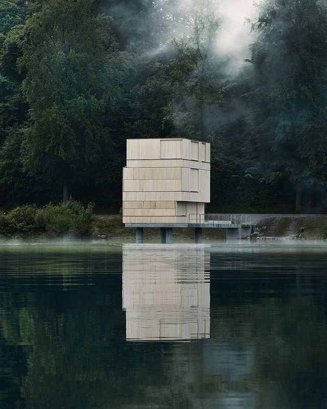 "Wood Cube ""closed"" ... Lake Rotsee Refuge in Switzerland by AFGH Architects"