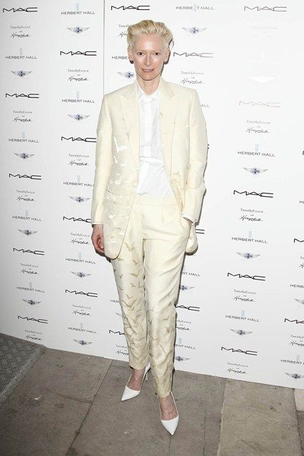 Timothy Everest & Horiyoshi III collaboration, London – June 18 2013  Tilda Swinton in a Timothy Everest & Horiyoshi III bespoke suit.