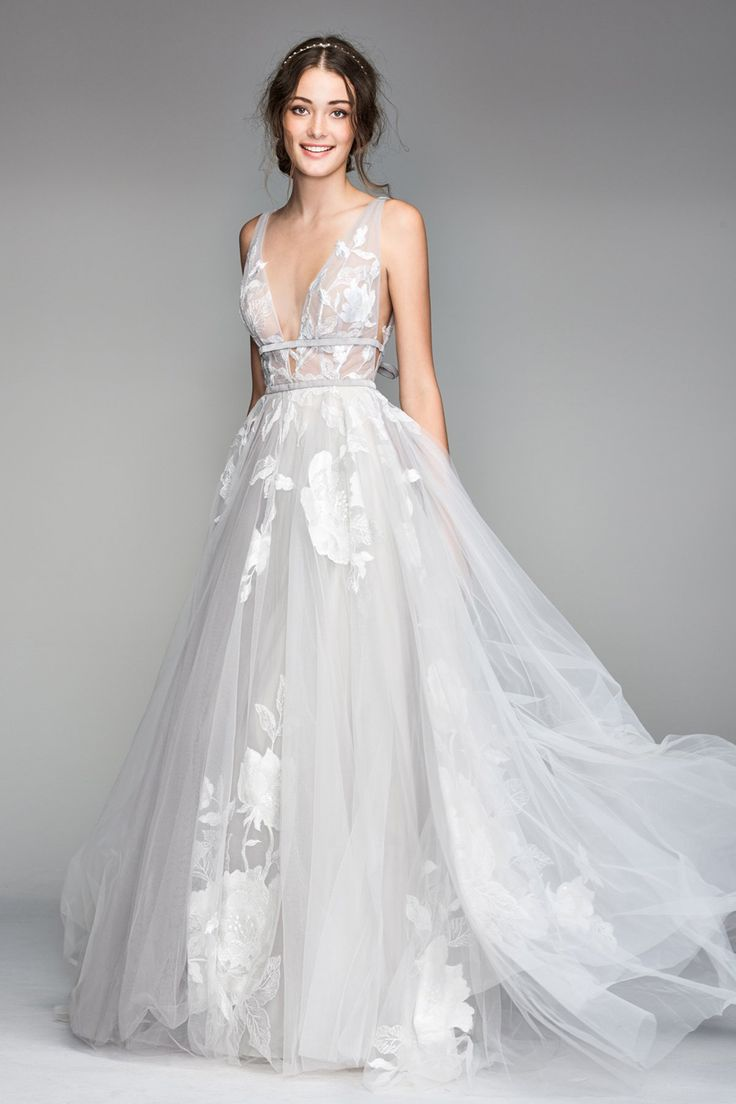 Willowby 50704 Galatea Plunging Neckline Marriage ceremony Gown
