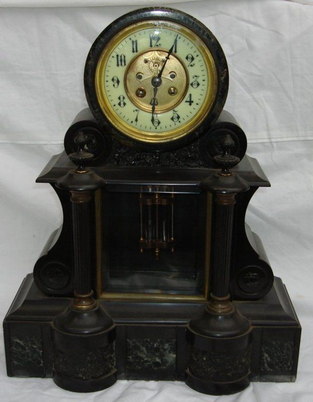 Vintage French Clock | Antique French Japy Freres Granite Marble Clock - For Sale