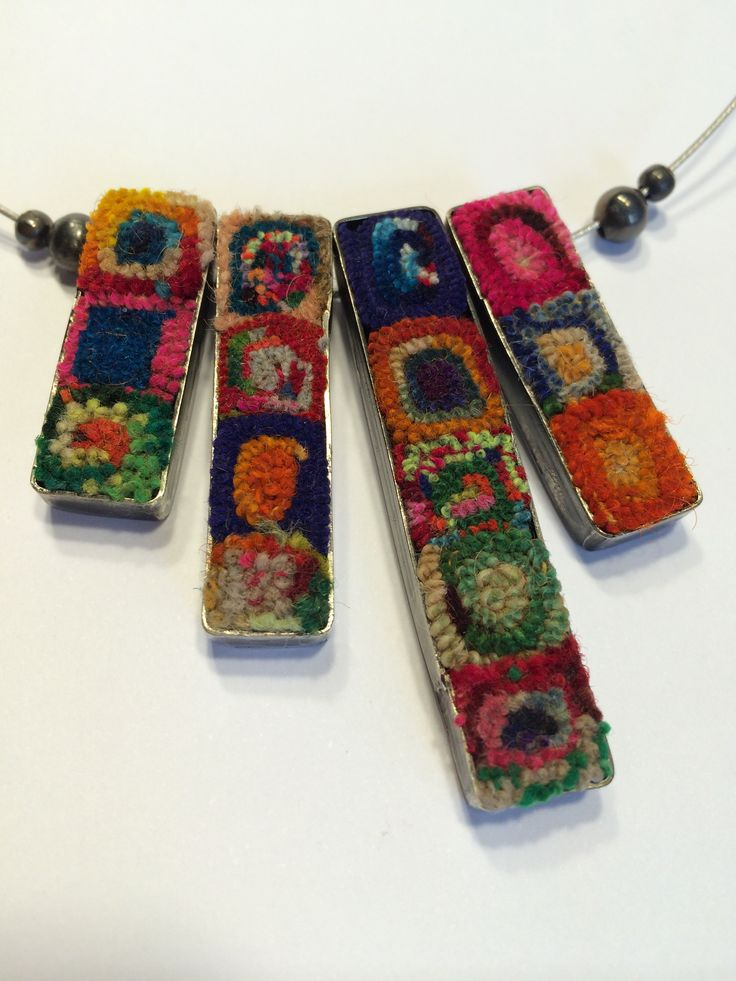 Antique fabric and metal necklaces