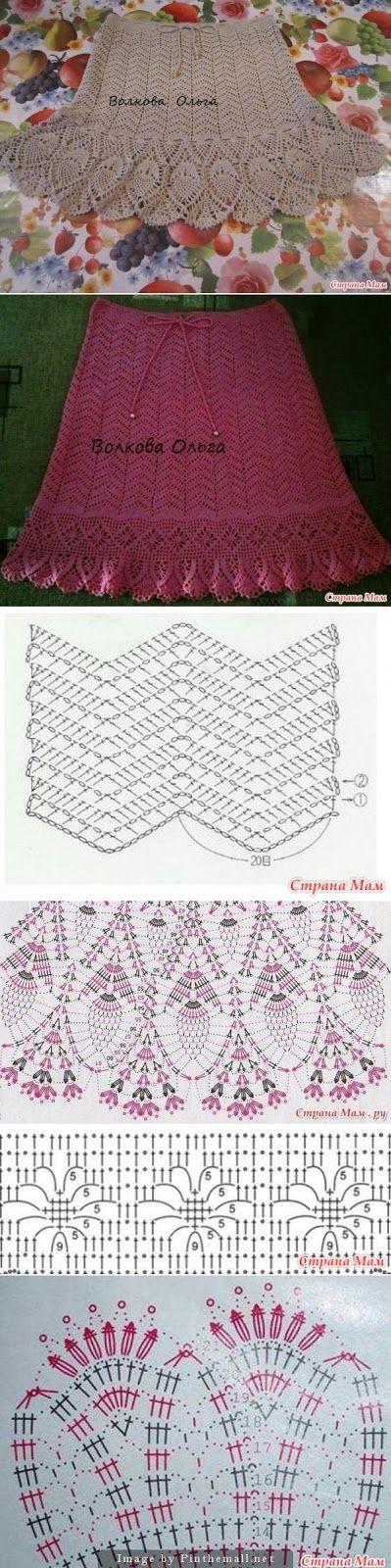 Luty Artes Crochet: Saias em crochê + Gráficos.                                                                                                                                                      Mais