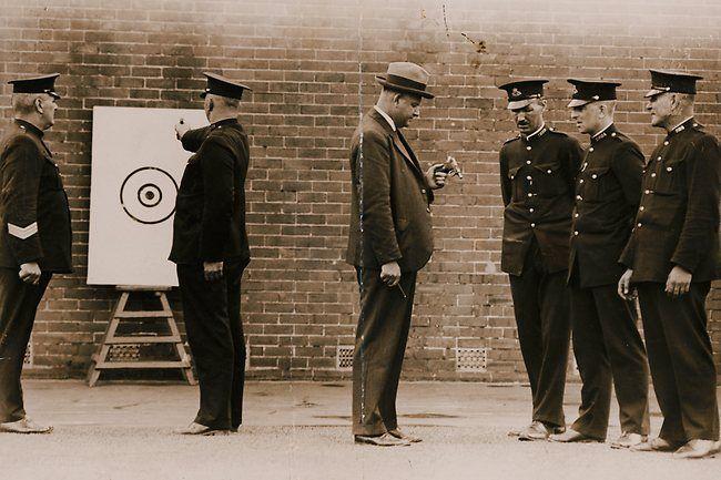 NSW police pistol  practice at Redfern Depot