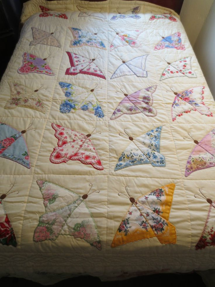Vintage Hanky Butterfly Quilt #quilting