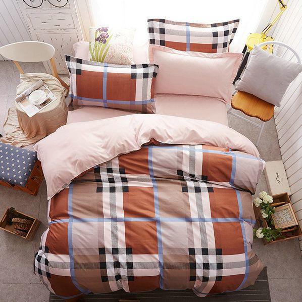 Hnedé obliečky na posteľ s potlačou