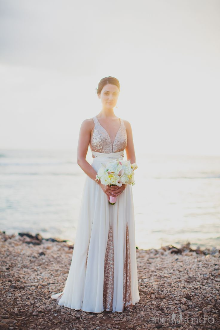 Our Andrea dress  Photography by @dmitriandsandraphotography #maui #beachwedding #destinationwedding #bride #bridal #beachweddingdress #sequins #ellebaybridal
