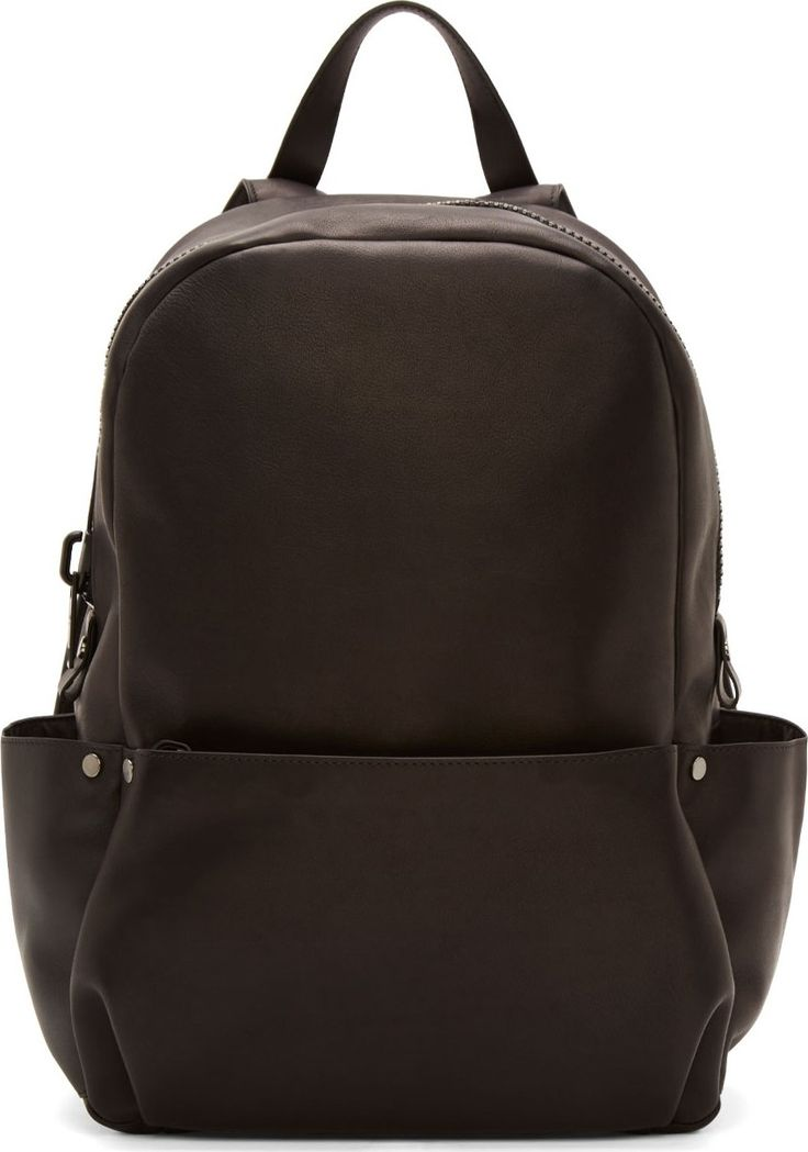 Calvin Klein Collection - Black Leather Oversized Zip Backpack