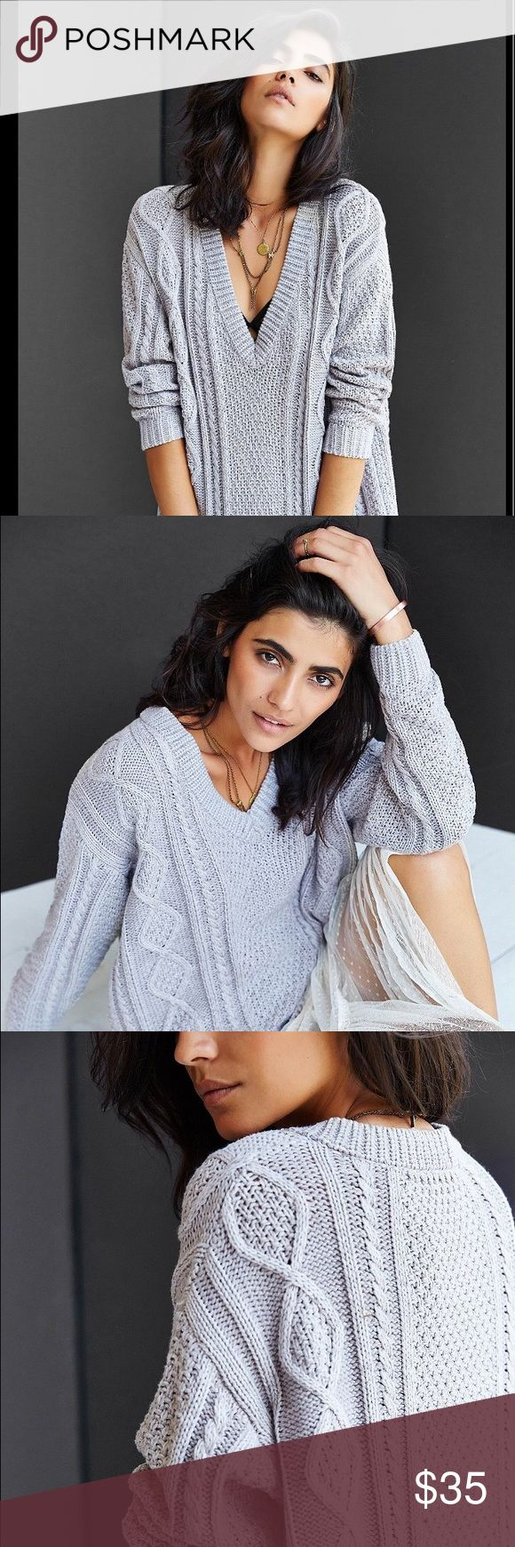 BDG cable knit sweater Purchase online from Urban Outfitters. Great condition, lightly used. Grey v-neck cable knit sweater. Urban Outfitters Sweaters V-Necks