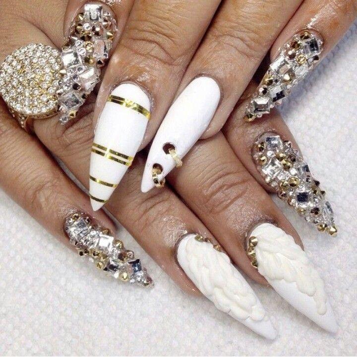 White & Gold Stiletto Acrylic Nails w/ Rhinestones | Nails ...