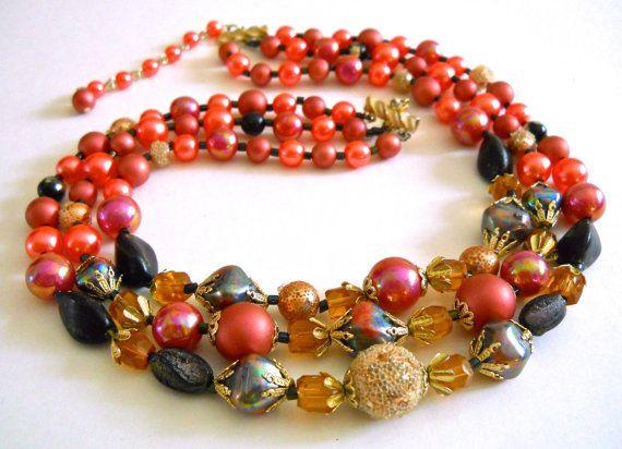 Multi Strand Iridescent Necklace Crystal Faux by RenaissanceFair