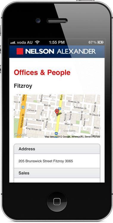 nelsonalexander.com.au - mobile website - office page.