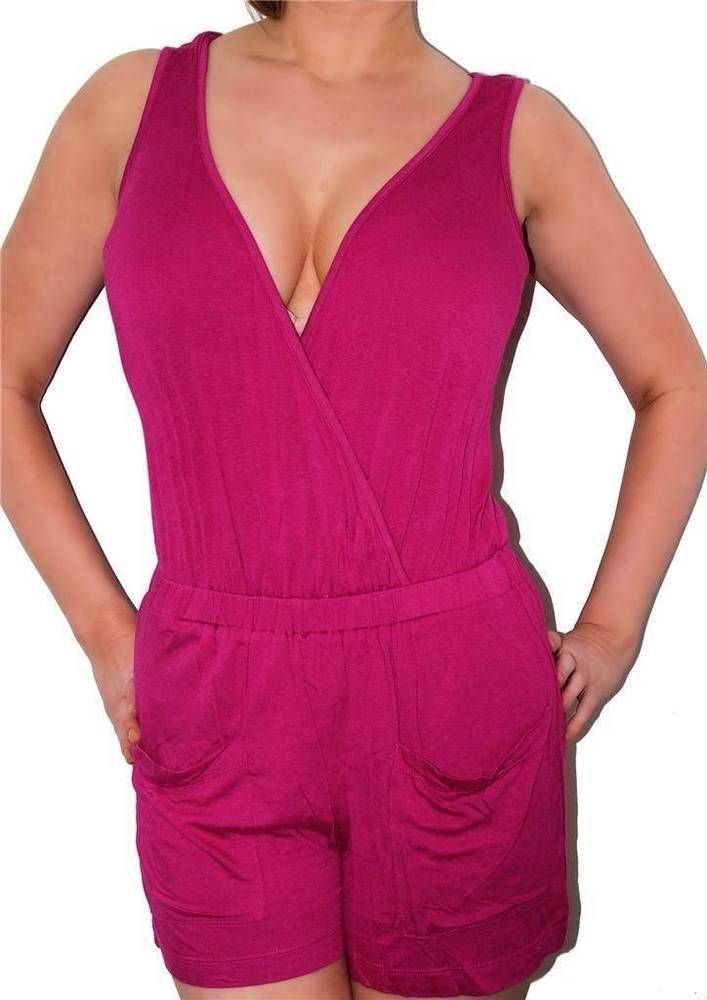 SEXY SOFT Hot PINK V NECK WRAP CLEAVAGE SUMMER ROMPER PARTY PLAYSUIT JUMPER NEW #shopjaded #Romper