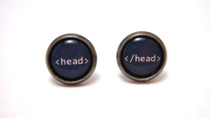 Head tag HTML Studs - Web designer black and white text head tag post earrings - SMALL 10mm - Geekery Geek Chic Techie Computer Programmer by NightsRequiem on Etsy https://www.etsy.com/listing/153499278/head-tag-html-studs-web-designer-black