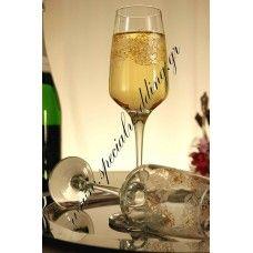 Ποτήρι σαμπάνιας γάμου δαντέλα Hand painted champagne wedding glass flute Lace