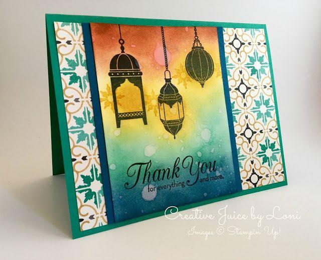Moroccan Nights, Lantern Card, TUTORIAL, Bokeh, Stampin' Up!, Creative Juice by Loni, www.loni.stampinup.net