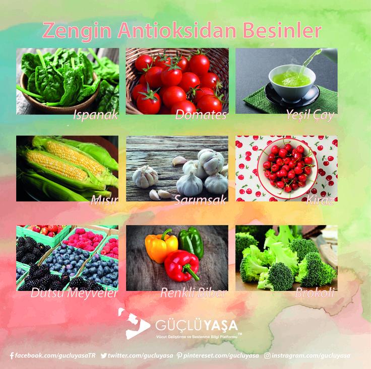 Antioksidan bakımından zengin 9 besin.  gucluyasa.com #diyet #diet #beslenme #nutrition #sağlık #fitlife #fityaşam #sağlıklıyaşam #sağlıklıbeslenme #sebze #meyve #zayıflama #kiloverme #kilo #türkiye #güçlüyaşa
