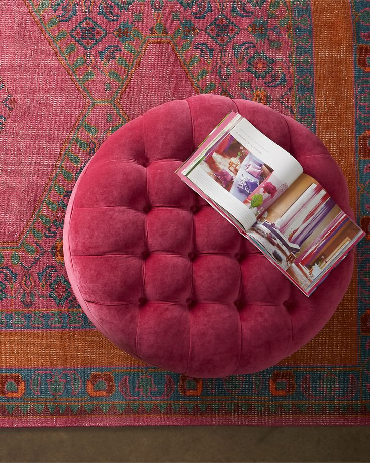 decorating with raspberry and terra-cotta with slate blue. French Beret Tufted Velvet Ottoman