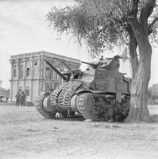 A British M3 Grant in Mandalay Burma, (Myanmar), during the Burma Campaign 1944–45, March 1945; Photo Source
