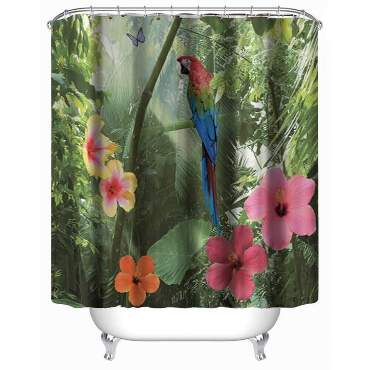 3D Printing Polyester Waterproof Proof Shower Curtain With Landscape Parrot Birds Flowers Pattern Bath Screen Bathroom Curtains