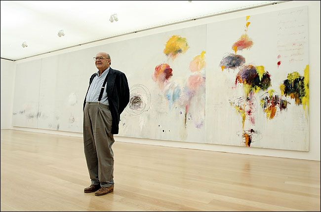 Cy Twombly.  standing in one of my favorite places in all the world - the eponymous gallery in Houston.